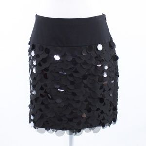 Ann Taylor black sequin mini skirt 8
